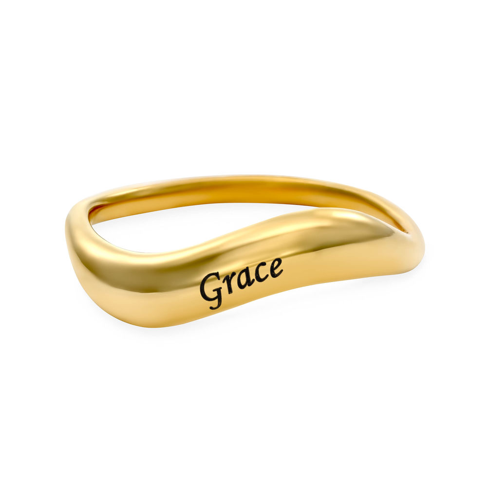 Stackable Wavy Name Ring in Gold Plating