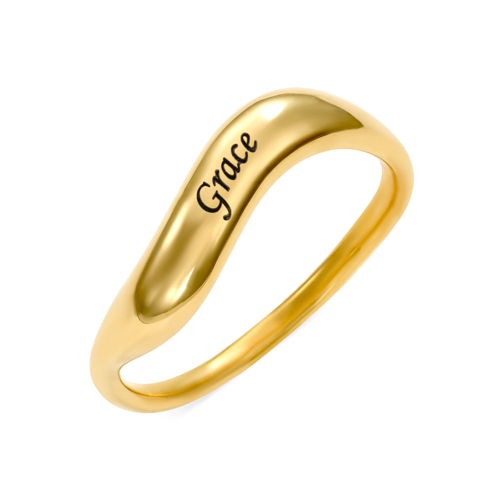 Stackable Wavy Name Ring in Gold Plating - 1