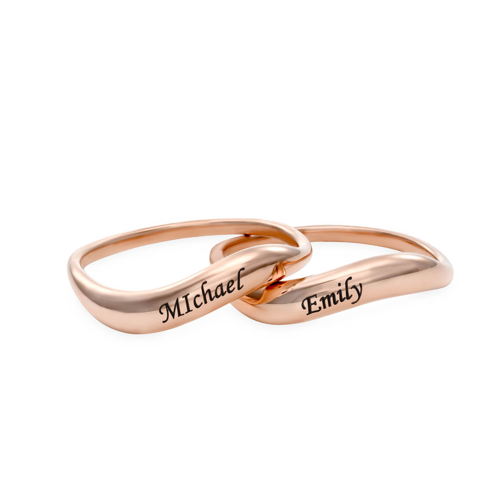 Stackable Wavy Name Ring in Rose Gold Plating - 2