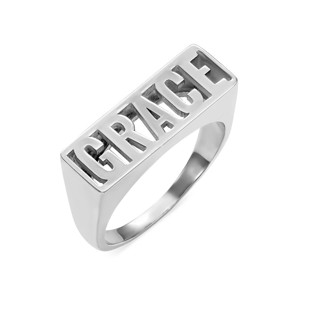 Block Name Ring in Sterling Silver
