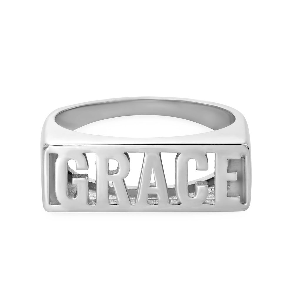 Block Name Ring in Sterling Silver - 1