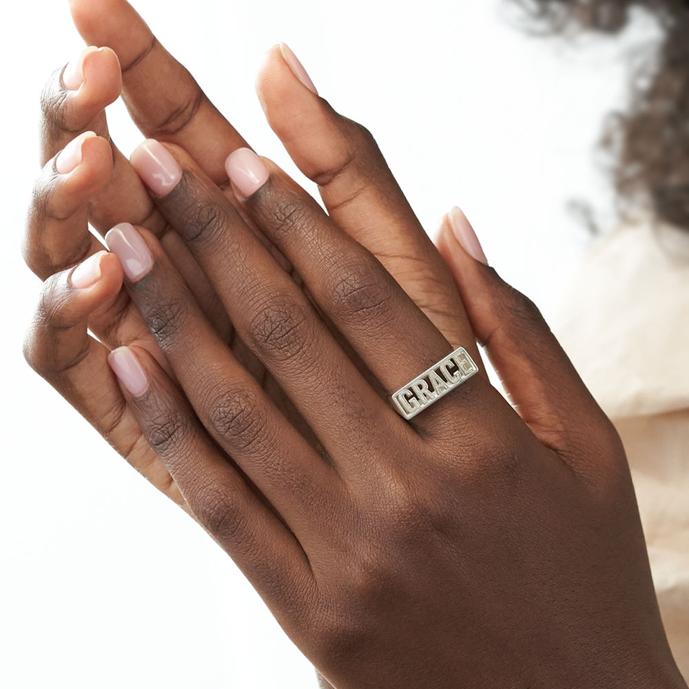 Block Name Ring in Sterling Silver - 4