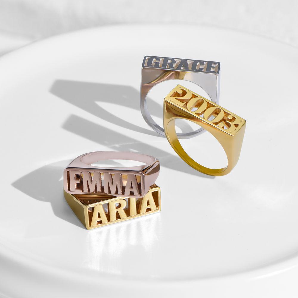 Block Name Ring in Rose Gold Plating - 2