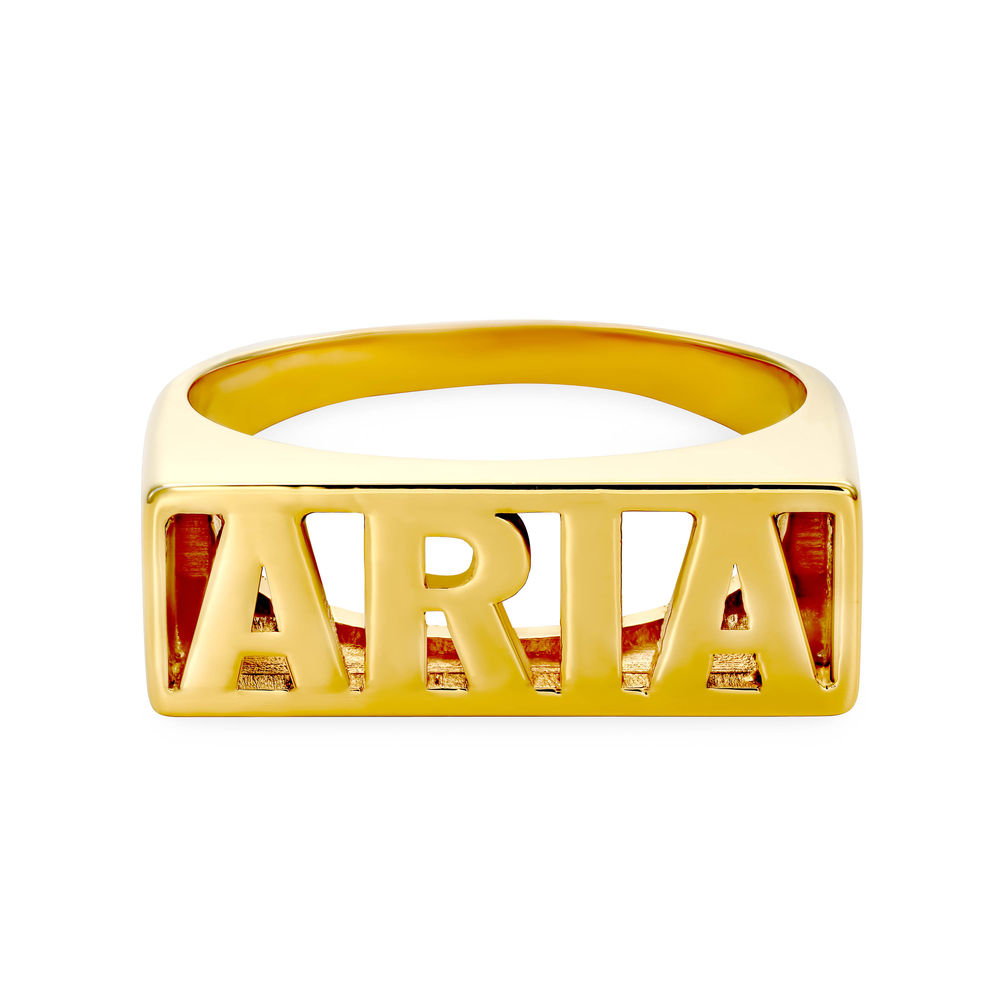 Block Name Ring in Gold Vermeil - 1