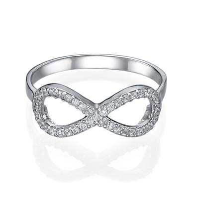Sterling Silver Infinity Ring with Cubic Zirconia - 1