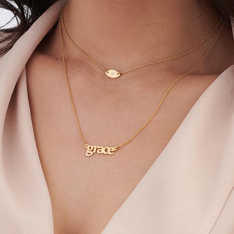 Personalized Name Necklace and Evil Eye Necklace Set in Gold Plating - 2