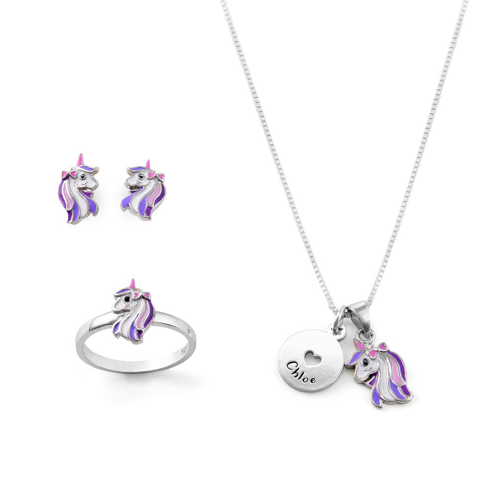 Unicorn Jewelry Set for Girls in Sterling Silver
