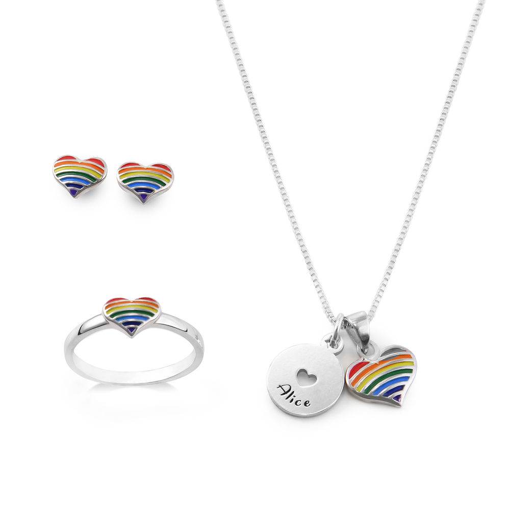 Rainbow Jewelry Set for Girls in Sterling Silver