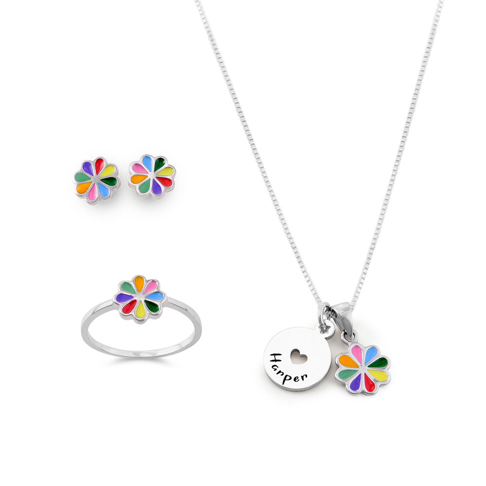 Flower Jewelry Set for Girls in Sterling Silver