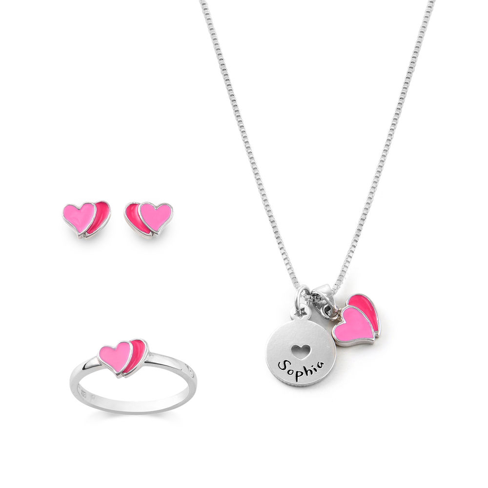 Heart Jewelry Set for Girls in Sterling Silver