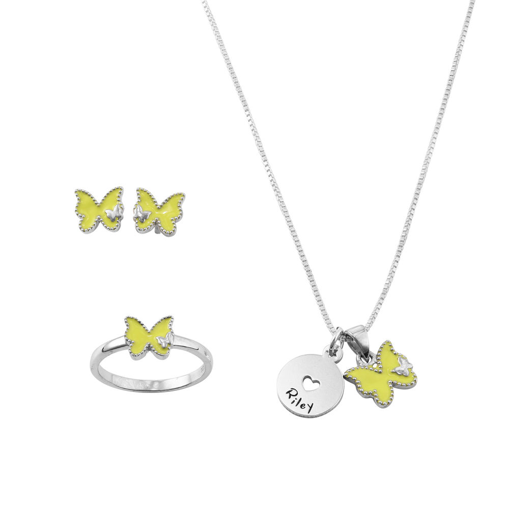 Butterfly Jewelry Set for Girls in Sterling Silver