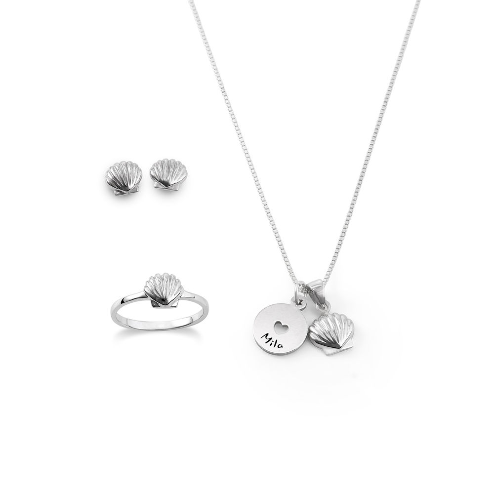 Shell Jewelry Set for Girls in Sterling Silver