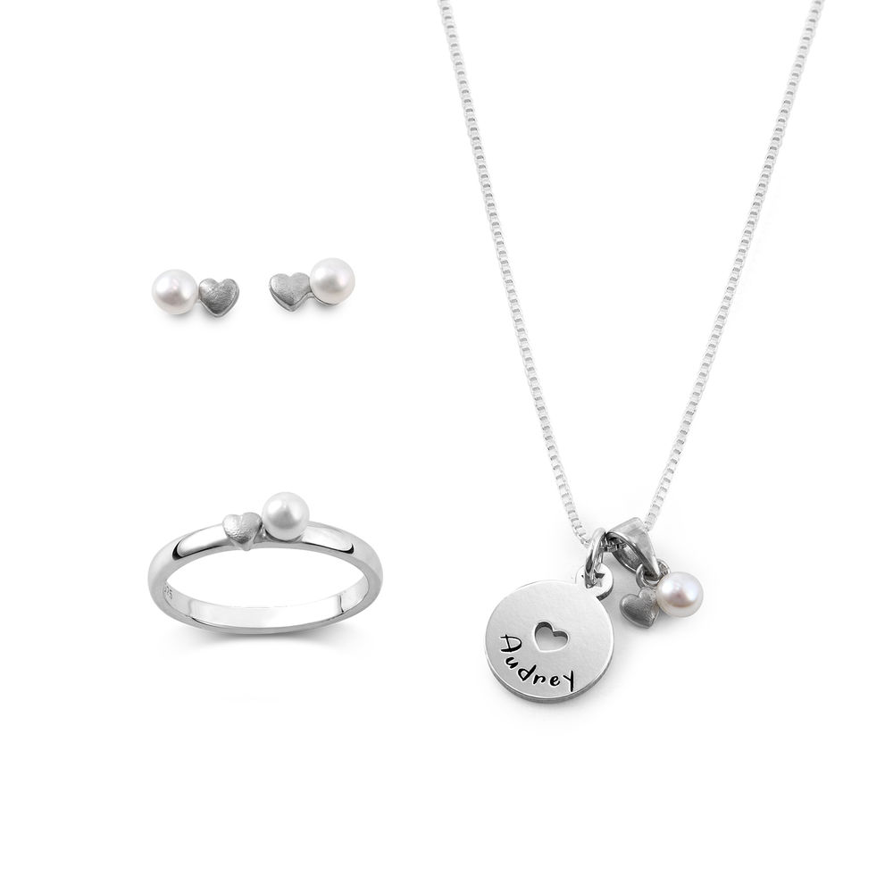 Pearl Jewelry Set for Girls in Sterling Silver