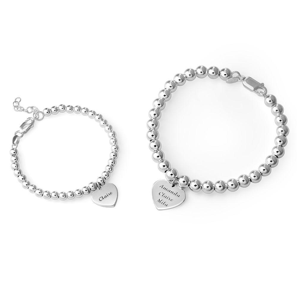 Mother Daughter Heart Bracelets Set in Sterling Silver