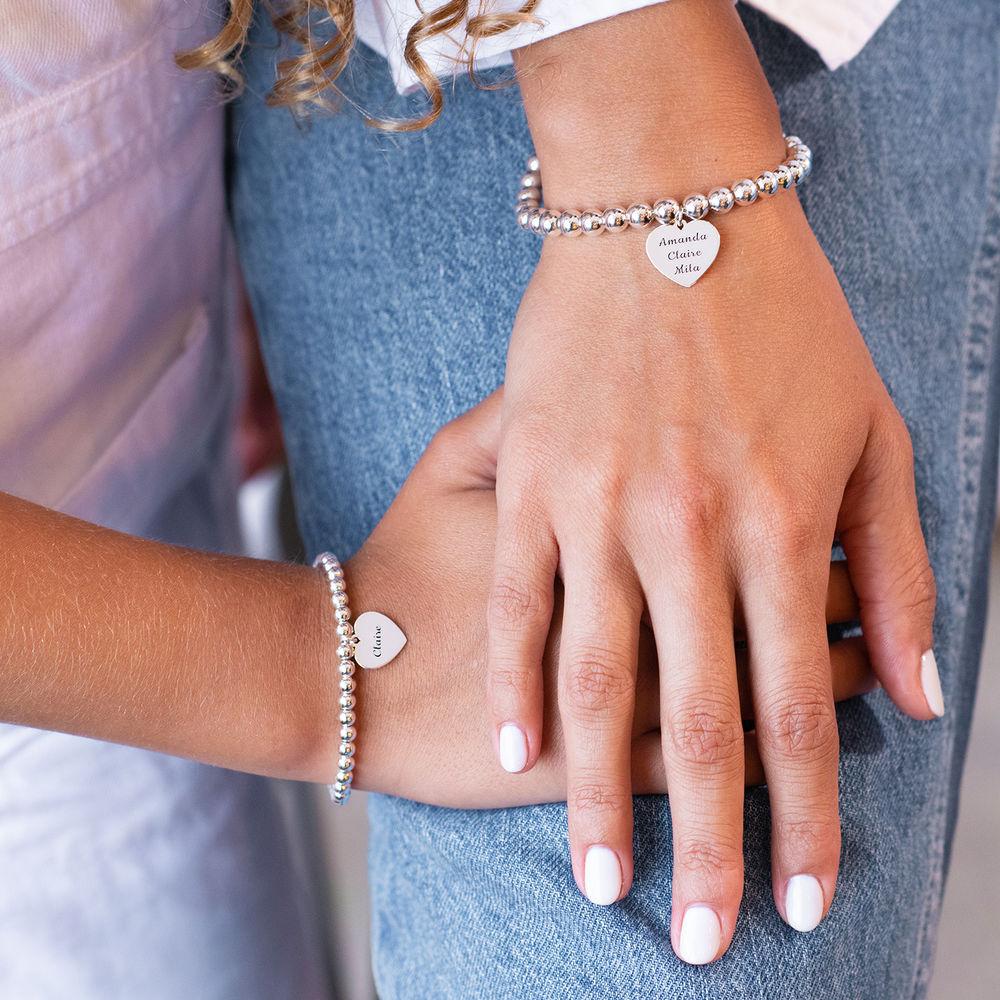 Mother Daughter Heart Bracelets Set in Sterling Silver - 2