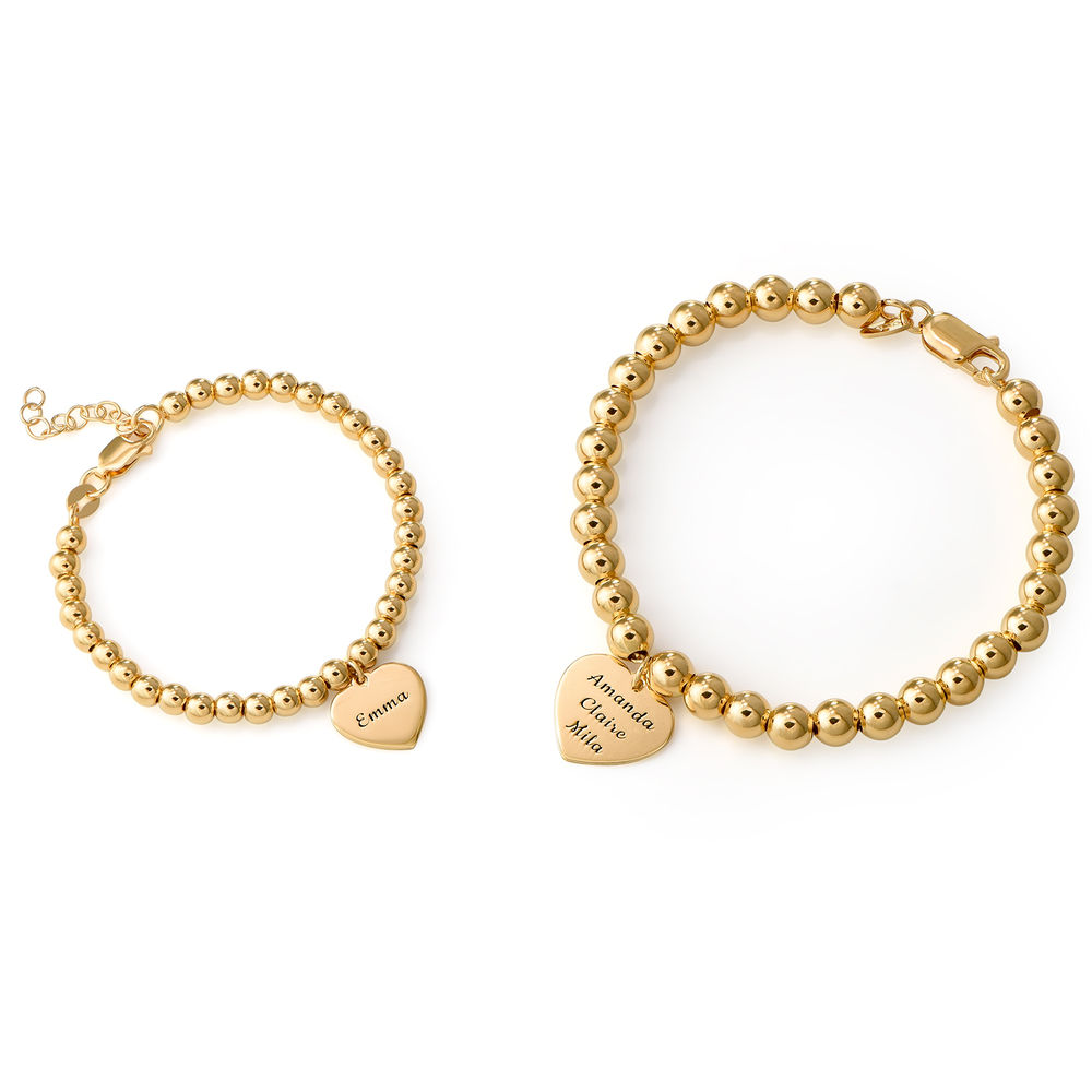 Mother Daughter Heart Bracelets Set in 18K Gold Plating