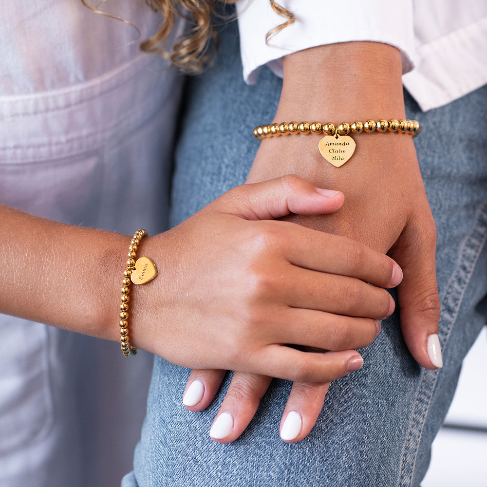 Mother Daughter Heart Bracelets Set in 18K Gold Plating - 2
