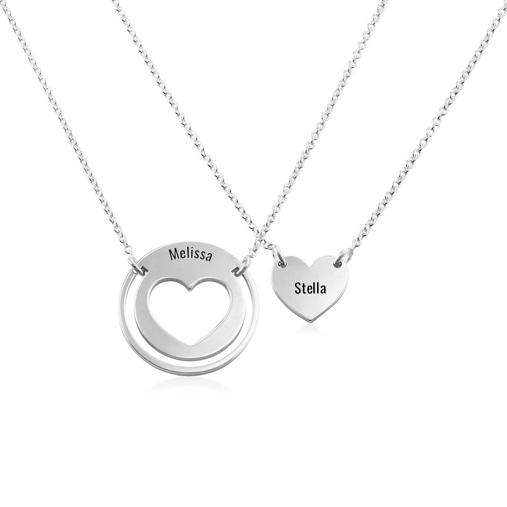 Mother Daughter Heart Necklace Set in Silver