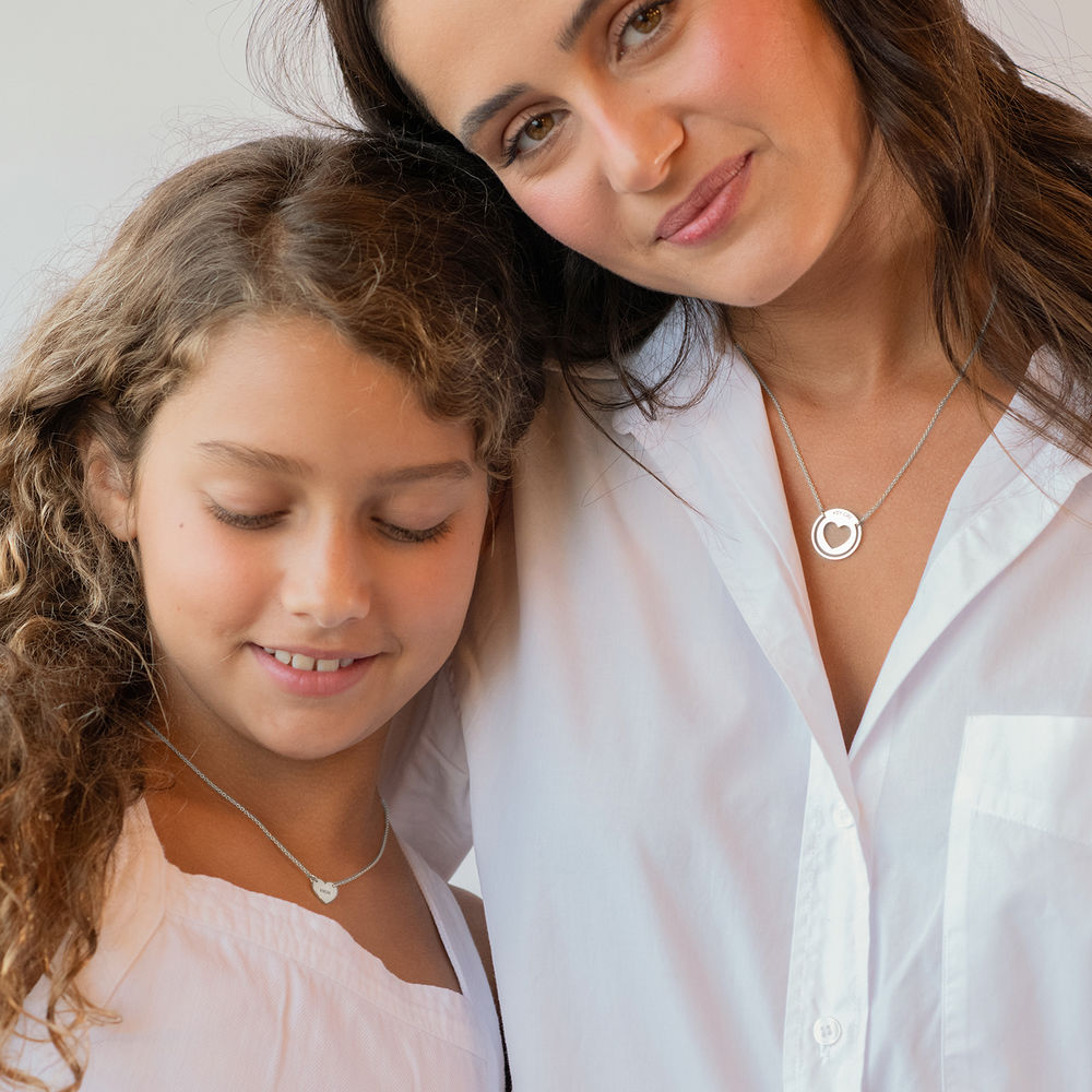 Mother Daughter Heart Necklace Set in Silver - 2