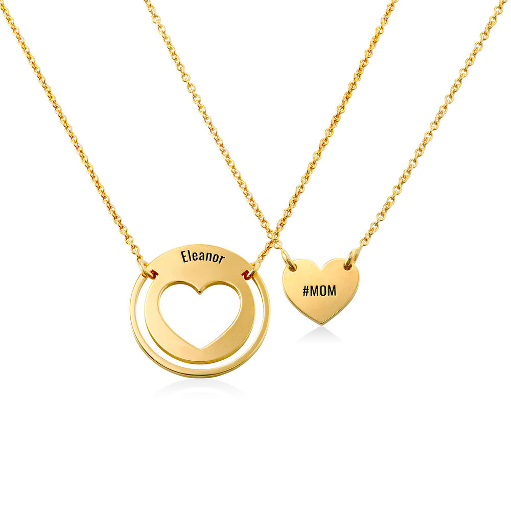 Mother Daughter Heart Necklace Set in 18K Gold Plating
