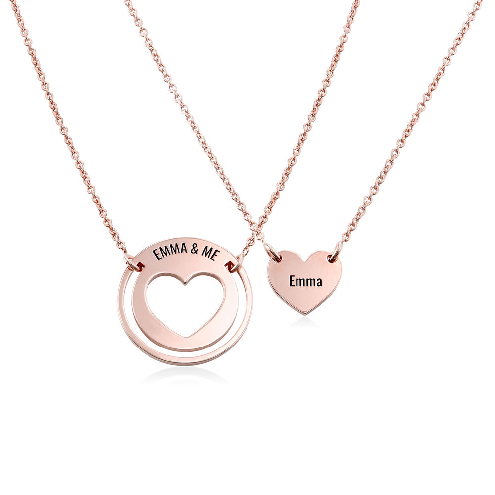 Mother Daughter Heart Necklace Set in 18K Rose Gold Plating