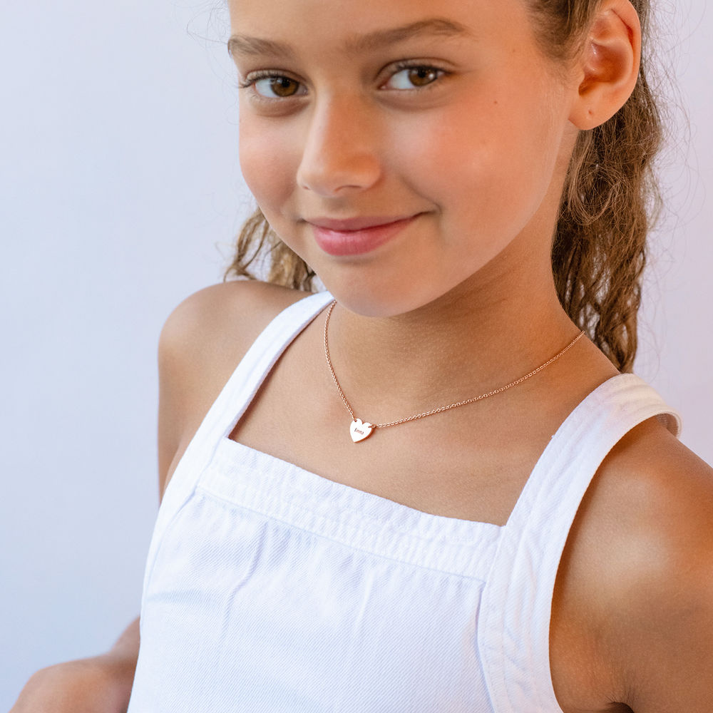 Mother Daughter Heart Necklace Set in 18K Rose Gold Plating - 1