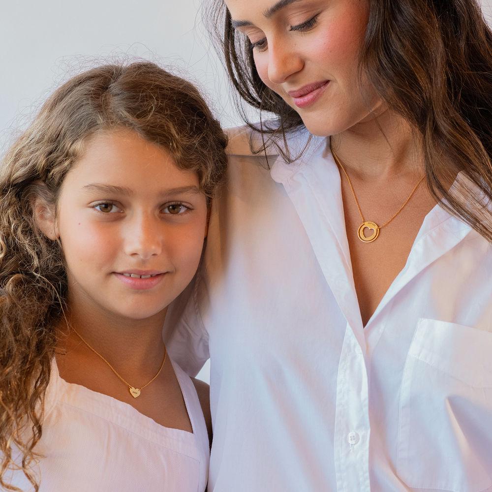 Mother Daughter Heart Necklace Set in 18K Rose Gold Plating - 2