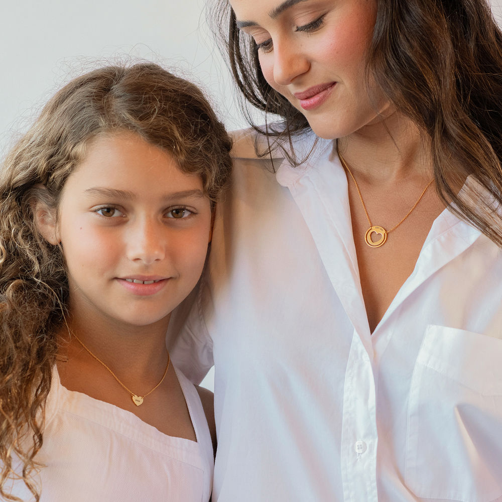Mother Daughter Heart Necklace Set in Gold Vermeil - 2