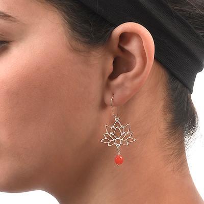 Sterling Silver Lotus Flower Earrings - 2