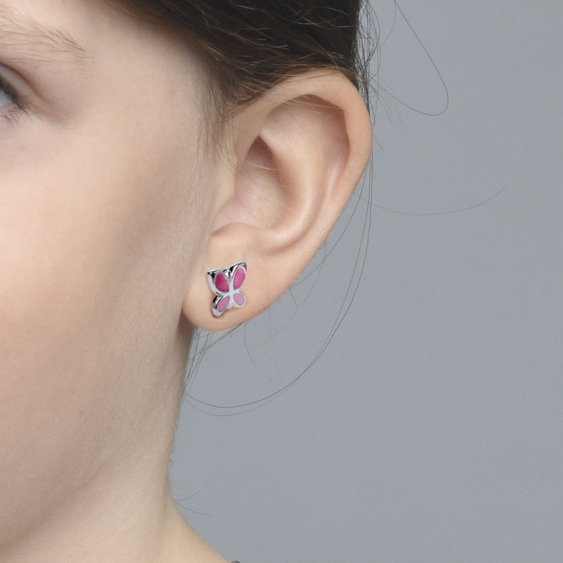 Pink Butterfly Earrings for Kids - 1