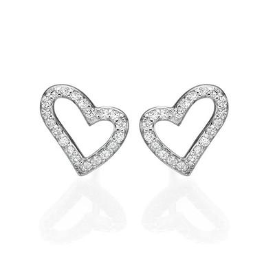 Open Heart Stud Earrings with Cubic Zirconia - 1