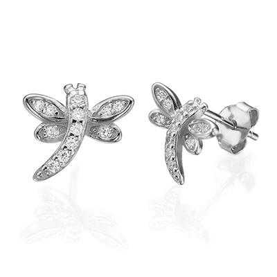 Cubic Zirconia Dragonfly Stud Earrings