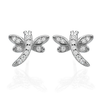 Cubic Zirconia Dragonfly Stud Earrings - 1