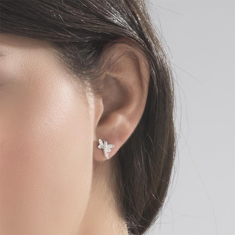 Cubic Zirconia Dragonfly Stud Earrings - 2