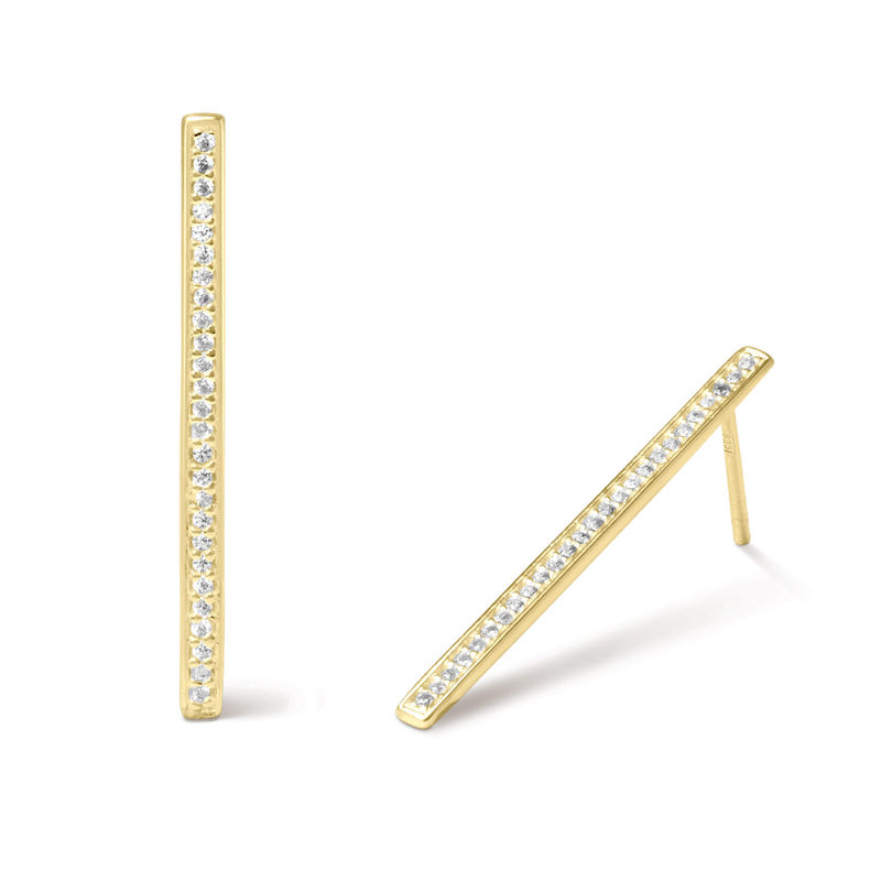Vertical Bar Stud Earrings with Cubic Zirconia in Gold Plated - 1