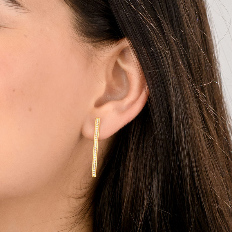 Vertical Bar Stud Earrings with Cubic Zirconia in Gold Plated - 2