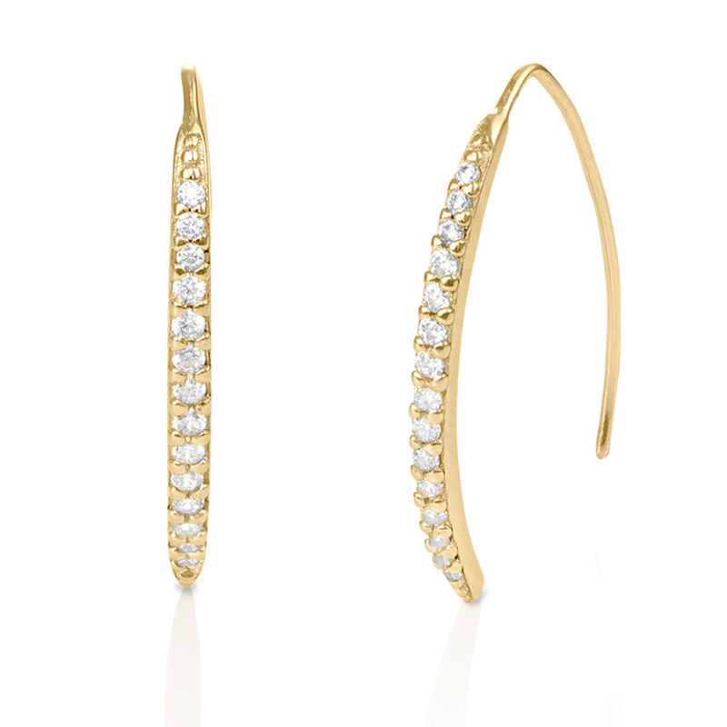 Curved Bar Earrings with Cubic Zirconia in Gold Plated