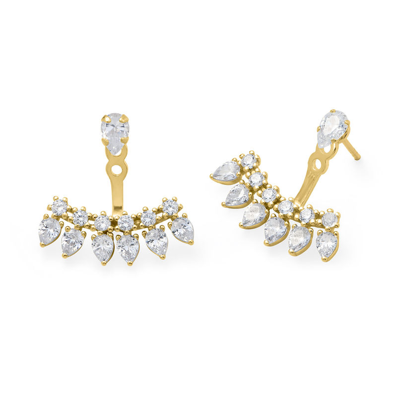 Ear Jacket Eearrings with Cubic Zirconia in Gold Plated