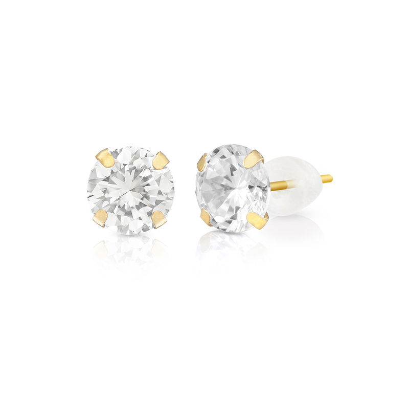 10k Solid Gold Stud Earrings with Cubic Zirconia