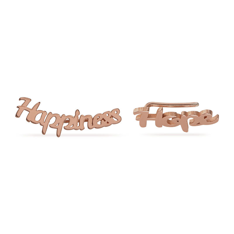 Personalized Ear Climbers with 18K Rose Gold Plating