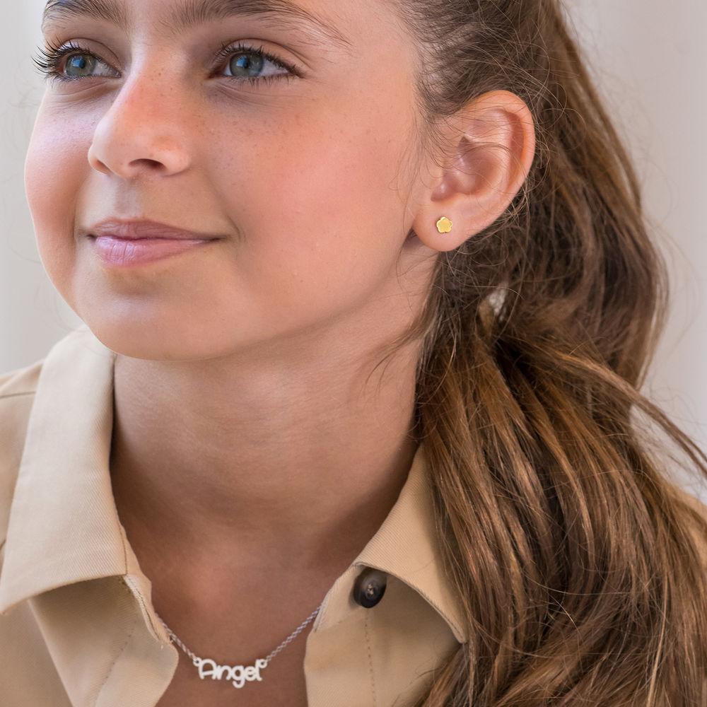 Little Girl 10k Gold Stud Earrings - 1