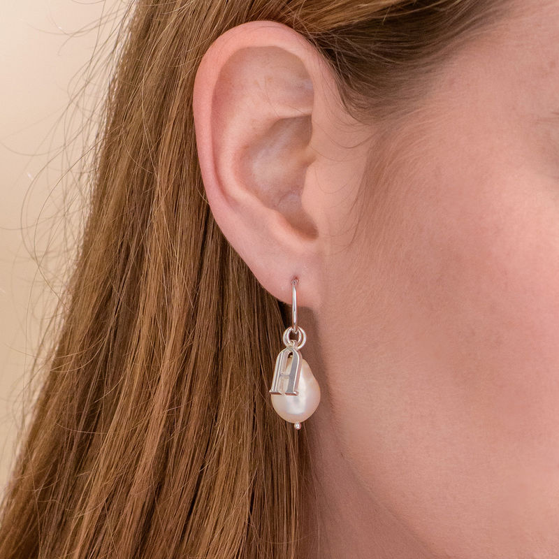 Initial Letter Earrings with Hanging Baroque Pearl in Sterling Silver - 5