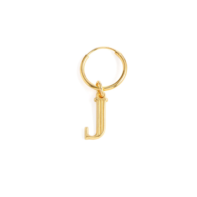 Initial Letter Earrings with Hanging Baroque Pearl in 18K Gold Plating - 2