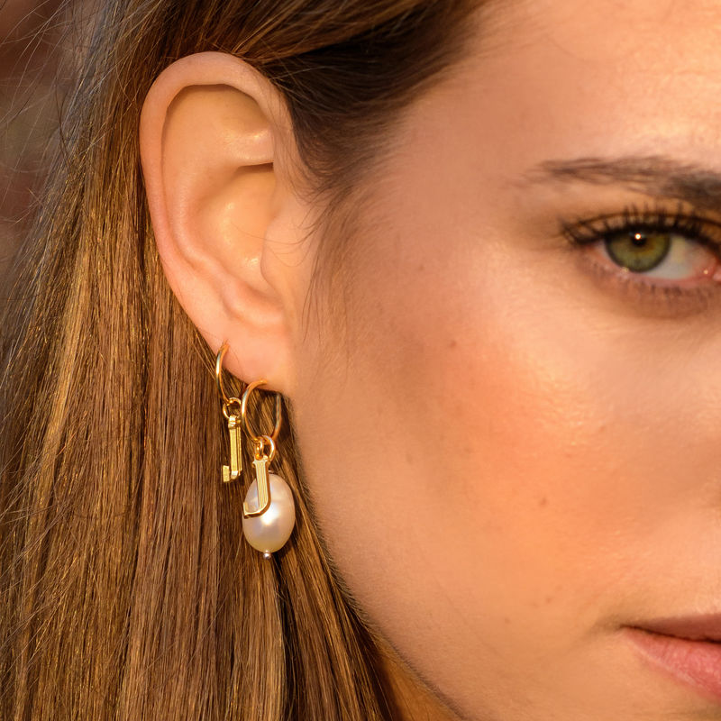 Initial Letter Earrings with Hanging Baroque Pearl in 18K Gold Plating - 3