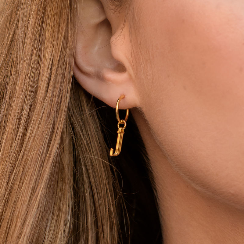 Initial Letter Earrings with Hanging Baroque Pearl in 18K Gold Plating - 4