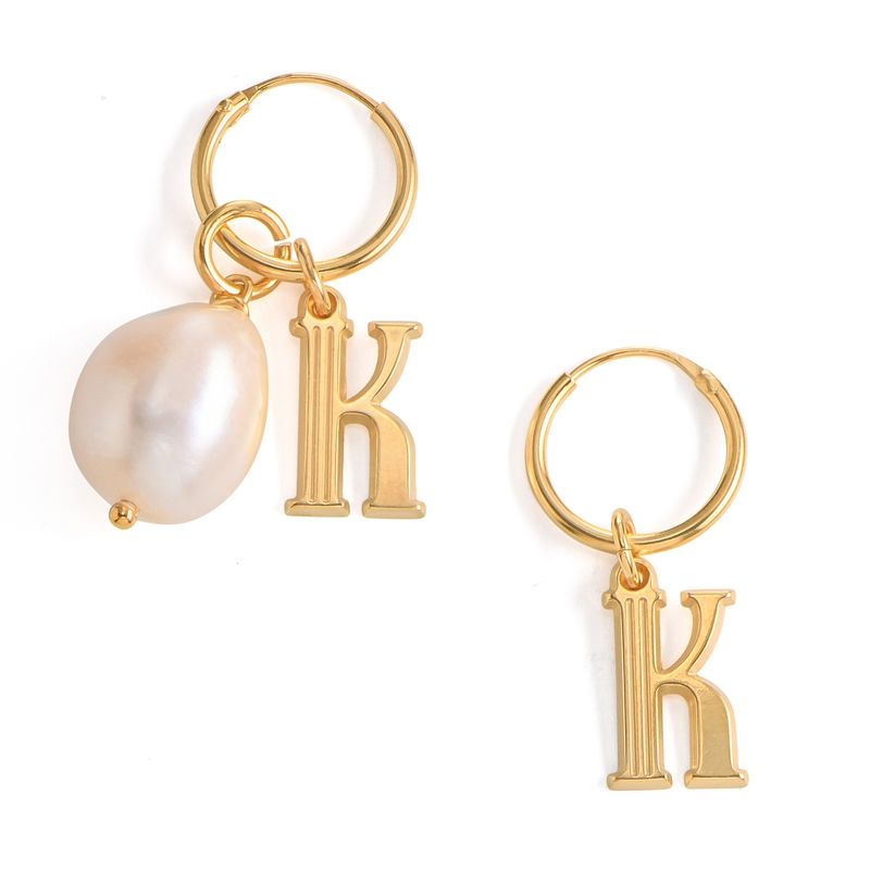 Initial Letter Earrings with Hanging Baroque Pearl in 18K Gold Vermeil