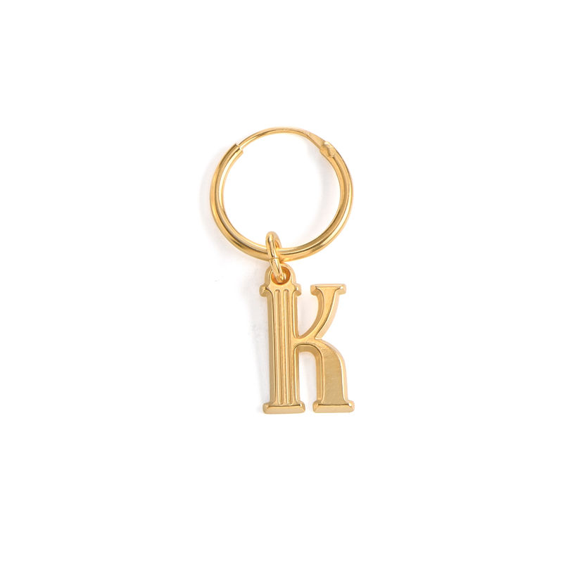 Initial Letter Earrings with Hanging Baroque Pearl in 18K Gold Vermeil - 1
