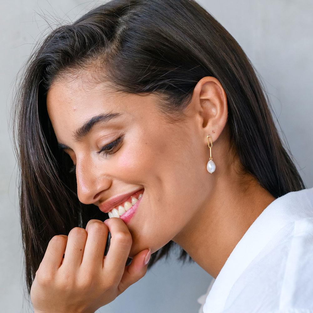 Baroque Pearl Links Earrings in 18K Gold Plating - 2