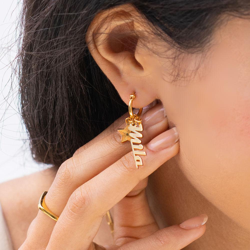 Siena Drop Name Earrings in 18k Gold Plating - 1