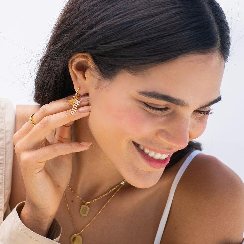 Siena Drop Name Earrings in Vermeil - 2